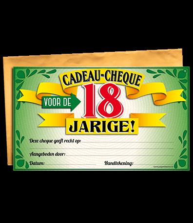 Gift Cheque 18 Jaar