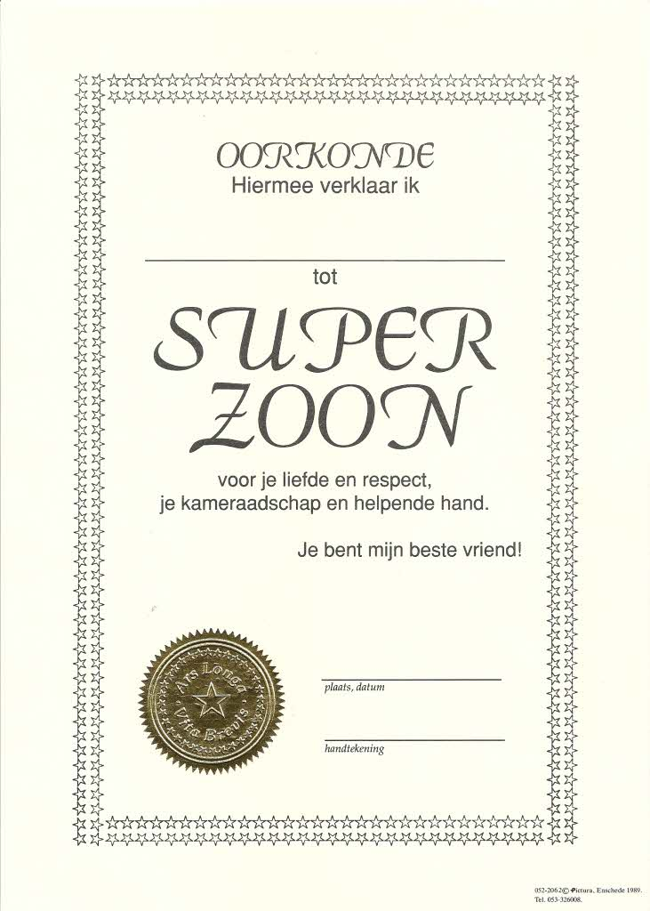 Oorkonde Super Zoon A4