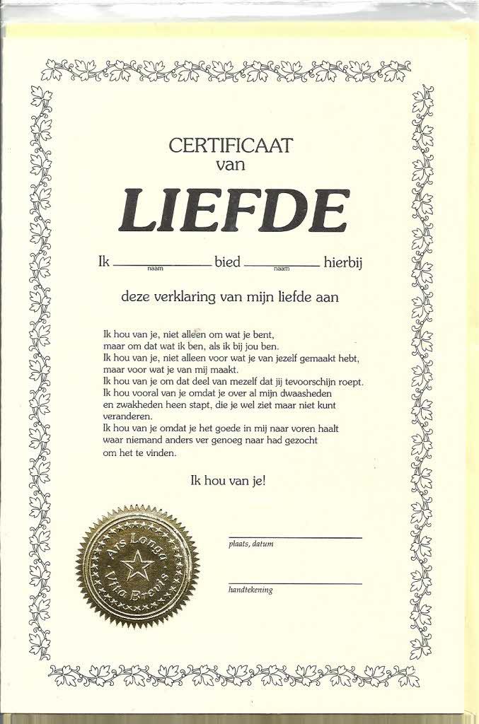 Oorkonde A5 Certificaat Van Liefde