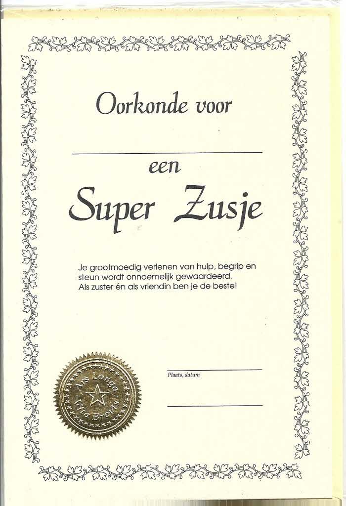 Oorkonde Super Zusje 12 X17 Cm