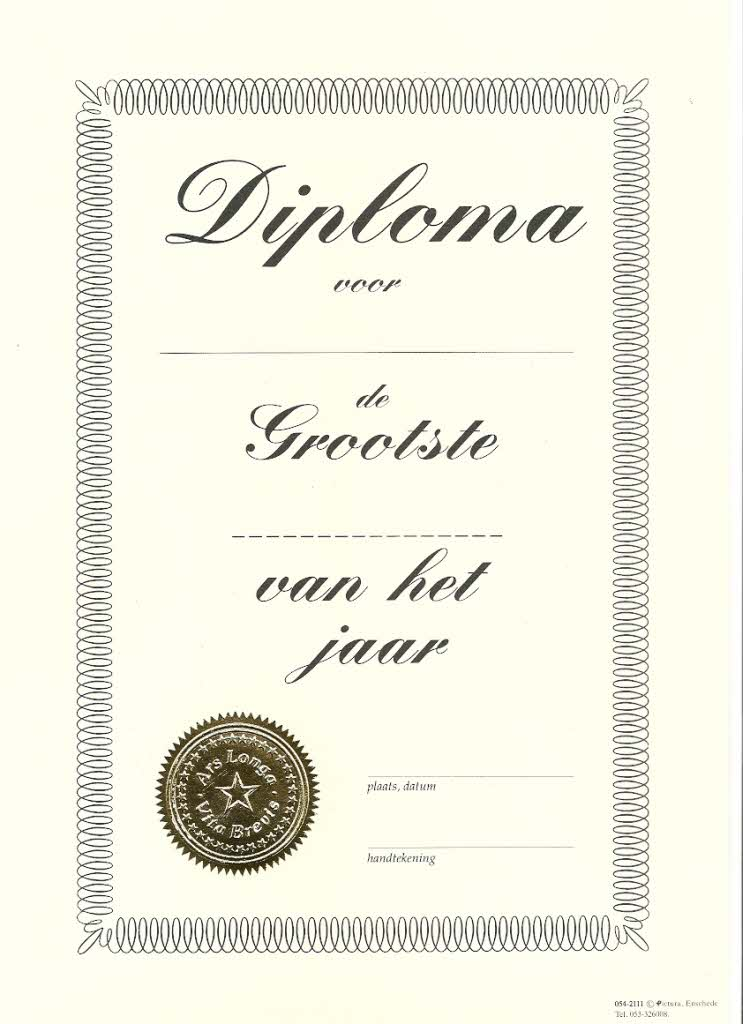 oorkonde diploma voor de grootste a4