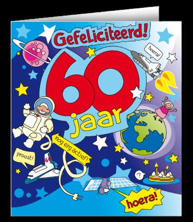 cadeau 60 jaar verras de jarige met een wenskaart cartoon 60 jaar
