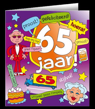 Cadeau 65 Jaar Verras De Jarige Met Een Wenskaart Cartoon 65 Jaar