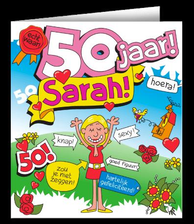 cadeau 50 jaar vrouw een leuke wenskaart cartoon sarah
